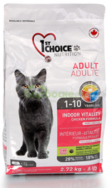 1ST CHOICE Adult Cat Vitality Indor Chicken - Сухой корм для домашних Кошек с КУРИЦЕЙ 2,72 кг